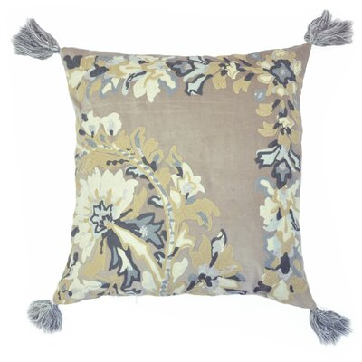 Embroidered Chain Stitch Floral Throw Pillow with Tassels