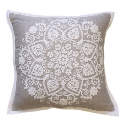 Embroidered Natural Floral Throw Pillow