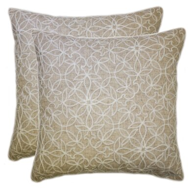 Quilted Embroidered Blossoms Throw Pillow Color: Cork