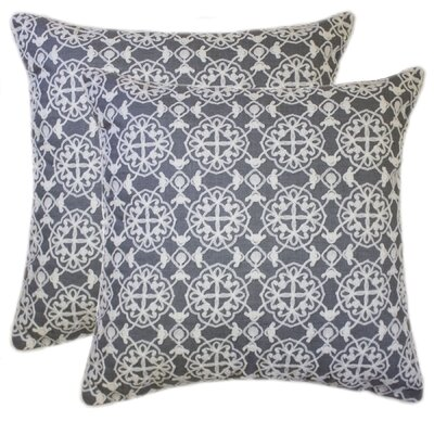 Quilted Embroidered Chain Stitch Throw Pillow Color: Denim