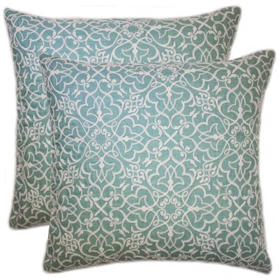 Quilted Embroidered Chain Stitch Throw Pillow Color: Turquoise