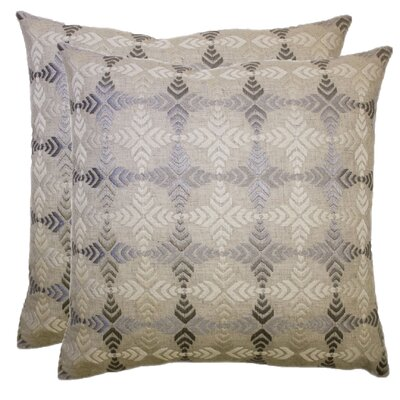 Compass Satin Stitch Embroidered Decorative Throw Pillow Color: Neutral