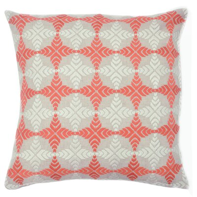 Compass Satin Stitch Embroidered Decorative Throw Pillow Color: Coral