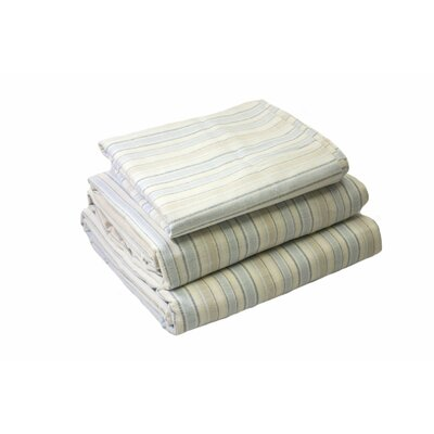 Lauryn Yarn Dyed 200 Thread Count 3 Piece 100% Cotton Sheet Set Color: Ivory Blue