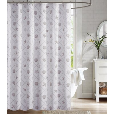 Nedra Coastal Trellis 100% Cotton Shower Curtain