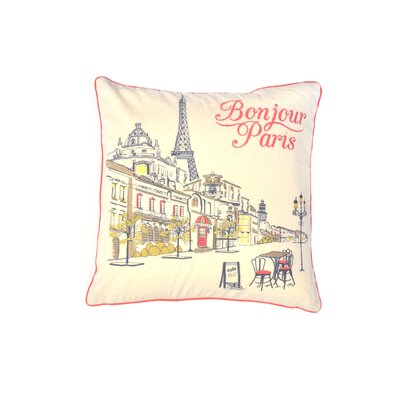 Hali Bonjour Paris 100% Cotton Throw Pillow