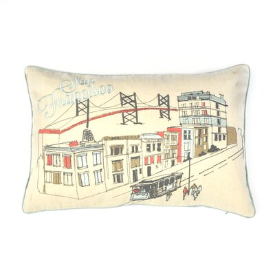 Halle San Francisco Sketch 100% Cotton Lumbar Pillow