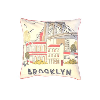 Hallie Brooklyn Bridge Sketch 100% Cotton Throw Pillow