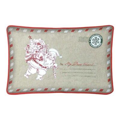 Calena Santa Postcard 100% Cotton Lumbar Pillow