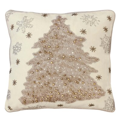 Celise Neutral Christmas Tree 100% Cotton Throw Pillow