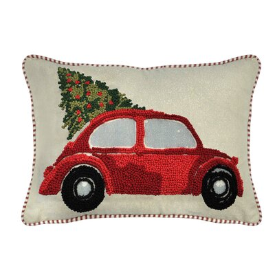 Brady French Knot Christmas Car 100% Cotton Lumbar Pillow