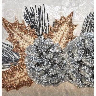 Ellyn Beaded Pinecones 100% Cotton Lumbar Pillow