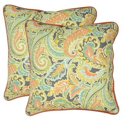 Caldwell 100% Cotton Throw Pillow Color: Coral/Yellow