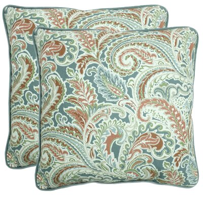 Caldwell 100% Cotton Throw Pillow Color: Aqua