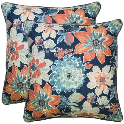 Knudsen 100% Cotton Throw Pillow Color: Coral/Navy