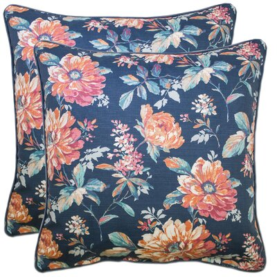 Calgary 100% Cotton Throw Pillow Color: Navy