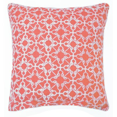 Dru Embroidered Throw Pillow Color: Coral