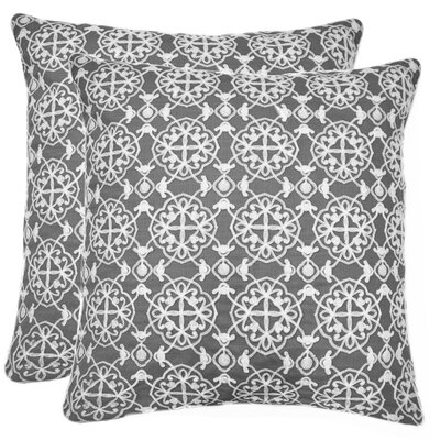 Drago Embroidered Throw Pillow Color: Gray