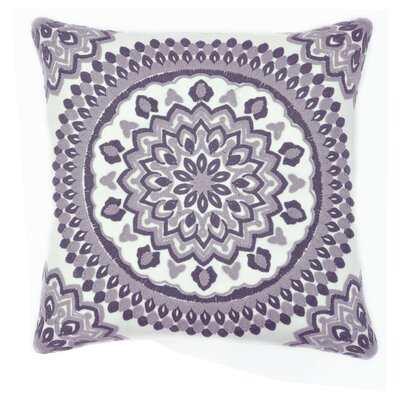 Medallion Chain Stitch Embroidered Decorative Throw Pillow Color: White/Brown