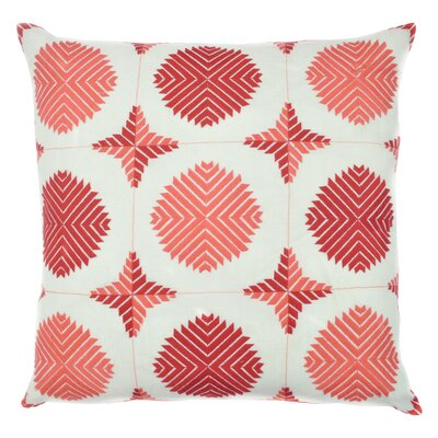 Geo Satin Stitch Embroidered Decorative Throw Pillow Color: Coral