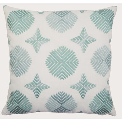 Geo Satin Stitch Embroidered Decorative Throw Pillow Color: Marine