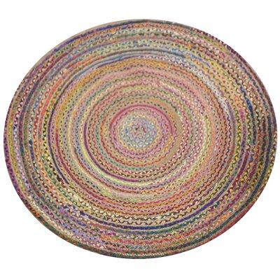 Vibrant Circular Chindi Area Rug Rug Size: Round 4