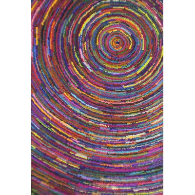 Circle Pink/Yellow Area Rug Rug Size: 5 x 8