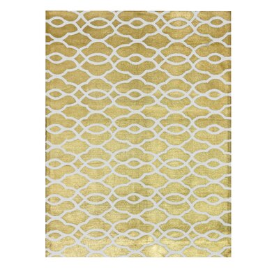 Honeycomb Gold Area Rug Rug Size: 4 x 6