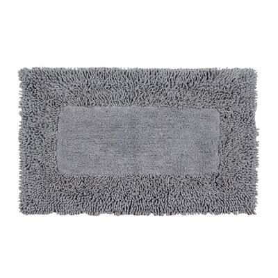 Thick Shag Border Bath Rug Color: Frost Gray, Size: 45 L x 27 W