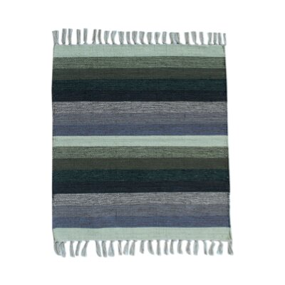 Multi Striped Green/Blue Area Rug Rug Size: 2.3 x 6.5
