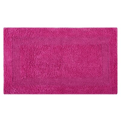 Reversible Single Border Bath Rug Color: Fuchsia, Size: 34 L x 21 W
