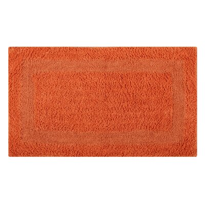 Reversible Single Border Bath Rug Size: 34 L x 21 W, Color: Orange