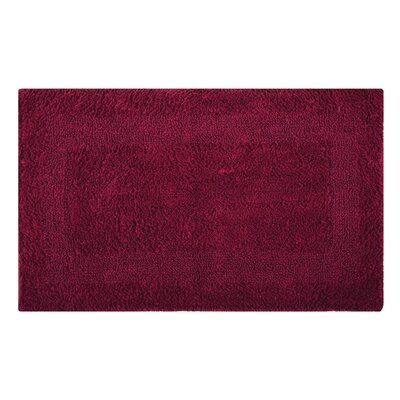 Reversible Single Border Bath Rug Size: 34 L x 21 W, Color: Scarlet