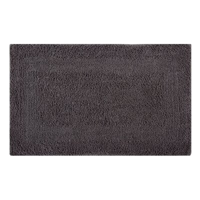 Reversible Single Border Bath Rug Size: 34 L x 21 W, Color: Steel Gray