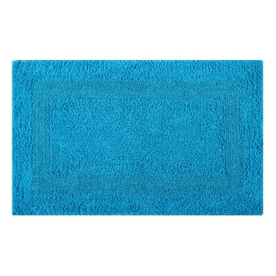 Reversible Single Border Bath Rug Size: 24 L x 17 W, Color: Turquoise