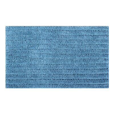 Horizontal Striped Bath Rug Color: Cerulean Blue, Size: 34 L x 21 W