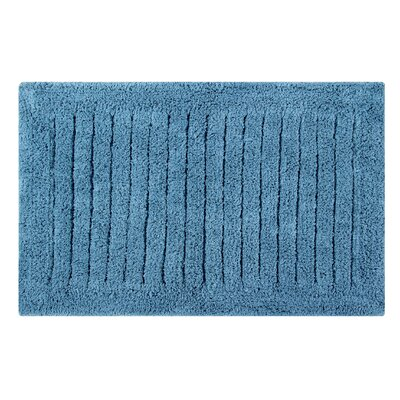 Vertical Striped Bath Rug Size: 24 L x 17 W, Color: Cerulean Blue