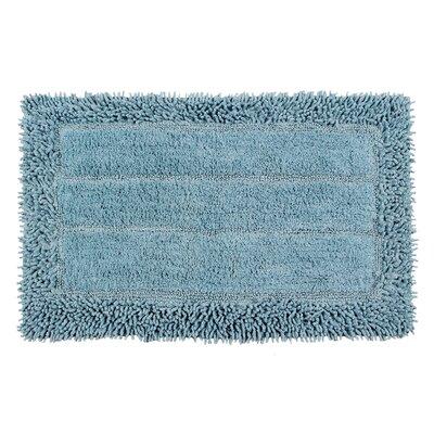 Shag Border Bath Rug Size: 24 L x 17 W, Color: Cotton Sky