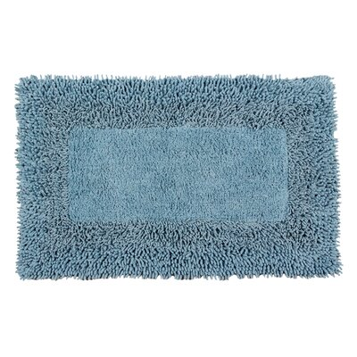 Thick Shag Border Bath Rug Size: 24 L x 17 W, Color: Cotton Sky