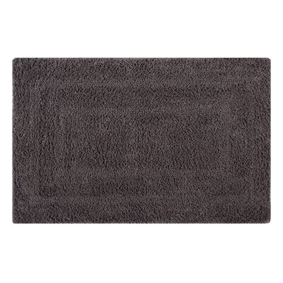 Reversible Double Border Bath Rug Size: 34 L x 21 W, Color: Steel Gray