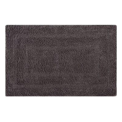 Reversible Double Border Bath Rug Size: 24 L x 17 W, Color: Steel Gray