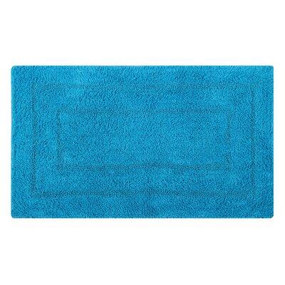 Reversible Double Border Bath Rug Size: 34 L x 21 W, Color: Turquoise