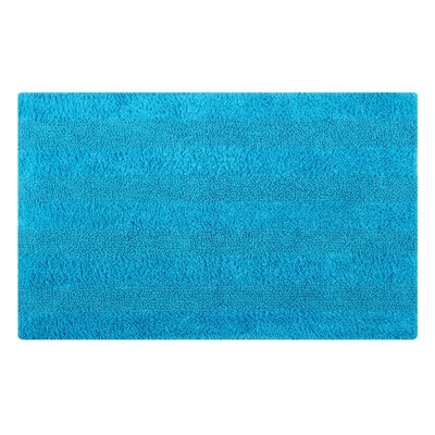 Reversible Horizontally Striped Bath Rug Size: 34 L x 21 W, Color: Turquoise
