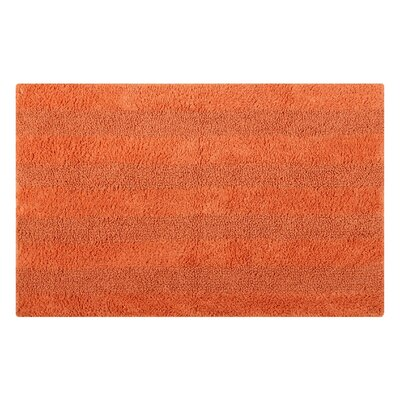Reversible Horizontally Striped Bath Rug Size: 24 L x 17 W, Color: Orange