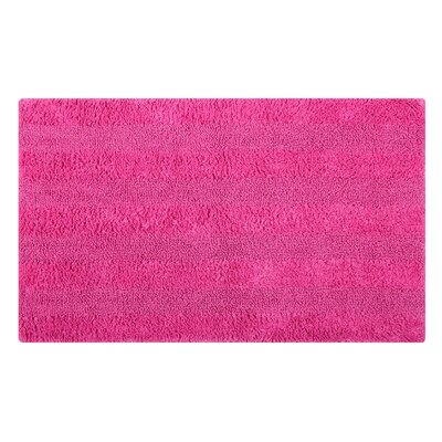 Reversible Horizontally Striped Bath Rug Size: 24 L x 17 W, Color: Fuchsia