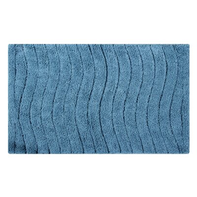 Vertical Wave Striped Bath Rug Color: Cerulean Blue, Size: 34 L x 21 W