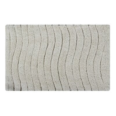 Vertical Wave Striped Bath Rug Size: 34 L x 21 W, Color: Ivory
