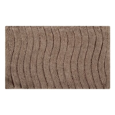 Vertical Wave Striped Bath Rug Size: 24 L x 17 W, Color: Taupe
