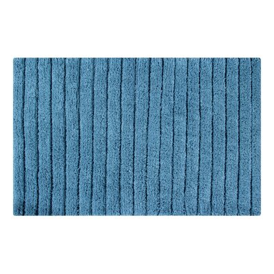 Vertically Striped Bath Rug Size: 24 L x 17 W, Color: Cerulean Blue