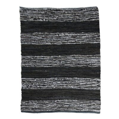 Leather Striped Black Area Rug Rug Size: 4 x 6